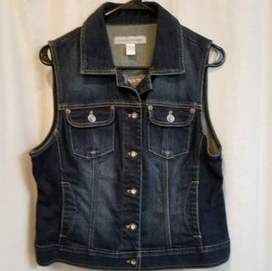 Dark denim rhinestone bling vest